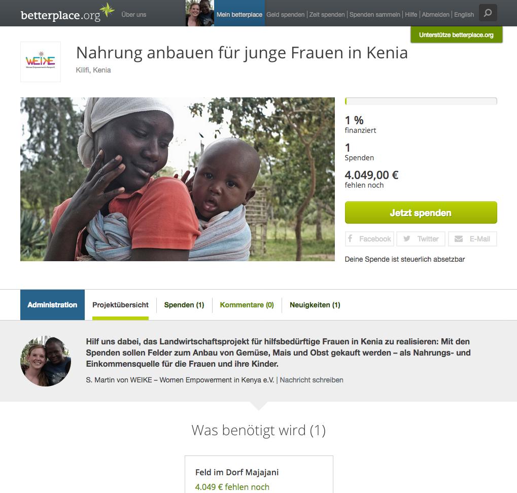 Landwirtschaftsprojekt auf betterplace.org